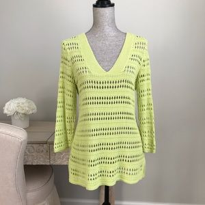 Chico's Chartreuse Linen Cotton Loose Knit Sweater